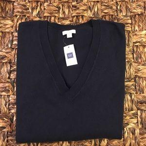Gap men's sweater long sleeve navy blue v-neck